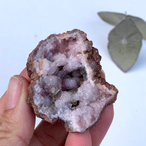 Light Pink Amethyst Geode Hand Held Specimen From Patagonia