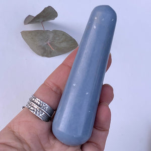 Creamy Blue Angelite Wand Carving From Peru