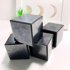 Emf Protective Large Polished Shungite Cube Carving~ Locality Russia