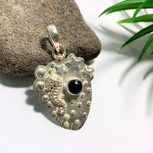 Seahorse, Moon & Stars Black Onyx Oxidized Sterling Silver Pendant (Includes Silver Chain)