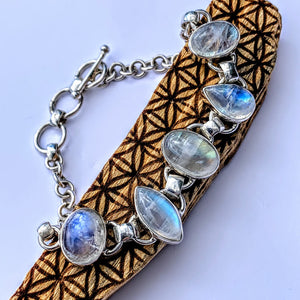 Incredible High Grade 5 Stone Rainbow Moonstone Sterling Silver Adjustable Bracelet