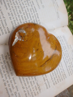 Mustard Orange Polychrome Jasper Love Heart With Cave - Earth Family Crystals