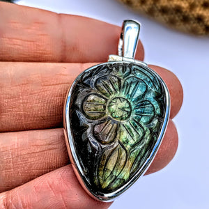 Fabulous Flower Carved Labradorite Pendant in Sterling Silver (Includes Silver Chain) #2