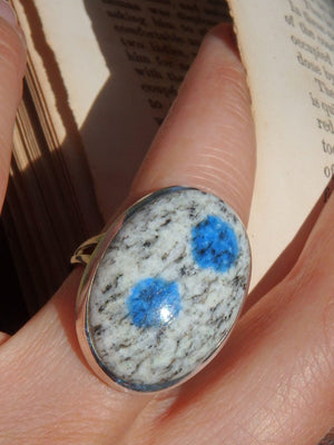 Divine Dotted Blue K2 Stone Azurite Ring in Sterling Silver (Size 8.5) - Earth Family Crystals