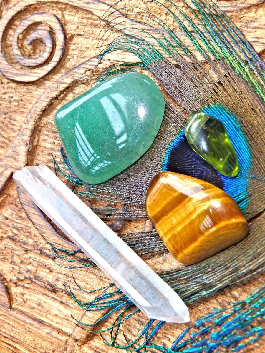 Lucky Tiger Crystal Kit (Includes: Peridot, Aventurine, Clear Quartz, Tiger Eye) - Earth Family Crystals