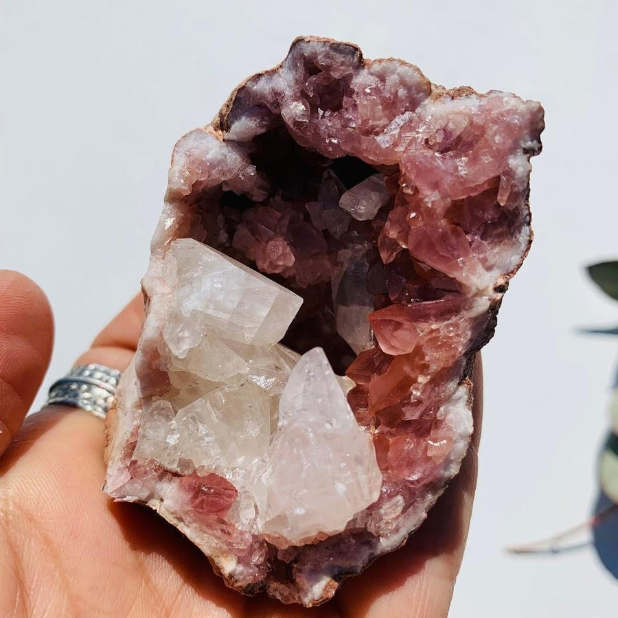 Deep Magenta Pink Amethyst & Clear Stellar Beam Calcite Included Geode from Patagonia