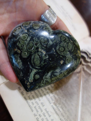 Deep Forest Green Orbs & Swirls Kambaba Jasper Love Heart - Earth Family Crystals