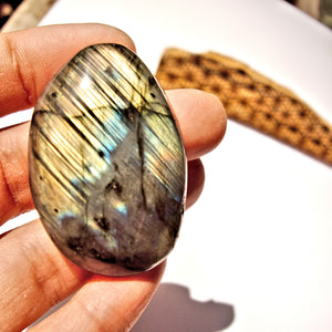 Rare Ribbons of Pink & Golden Flash Labradorite #4