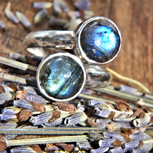 Flashy Blue Labradorite Sterling Silver Ring (Adjustable~Size 6.5-7.5)