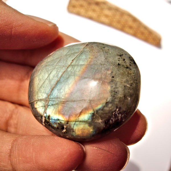 Pretty Rainbow Flashes Labradorite Palm Stone #3