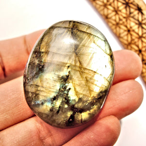 Intense Double Sided Flashes Labradorite Palm Stone #1