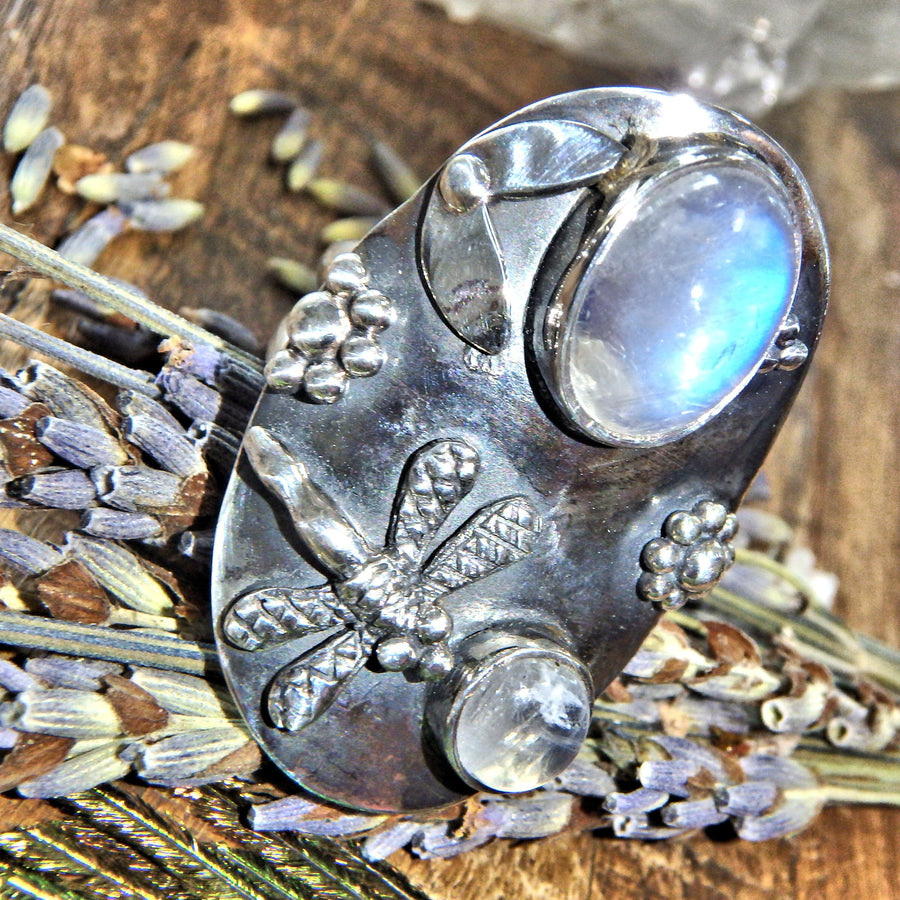 Chunky Dragonfly & Rainbow Moonstone Ring In Sterling Silver (Size 8)