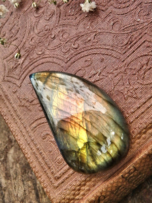 Pretty Teardrop Peachy Pink & Golden Flash Labradorite Cabochon