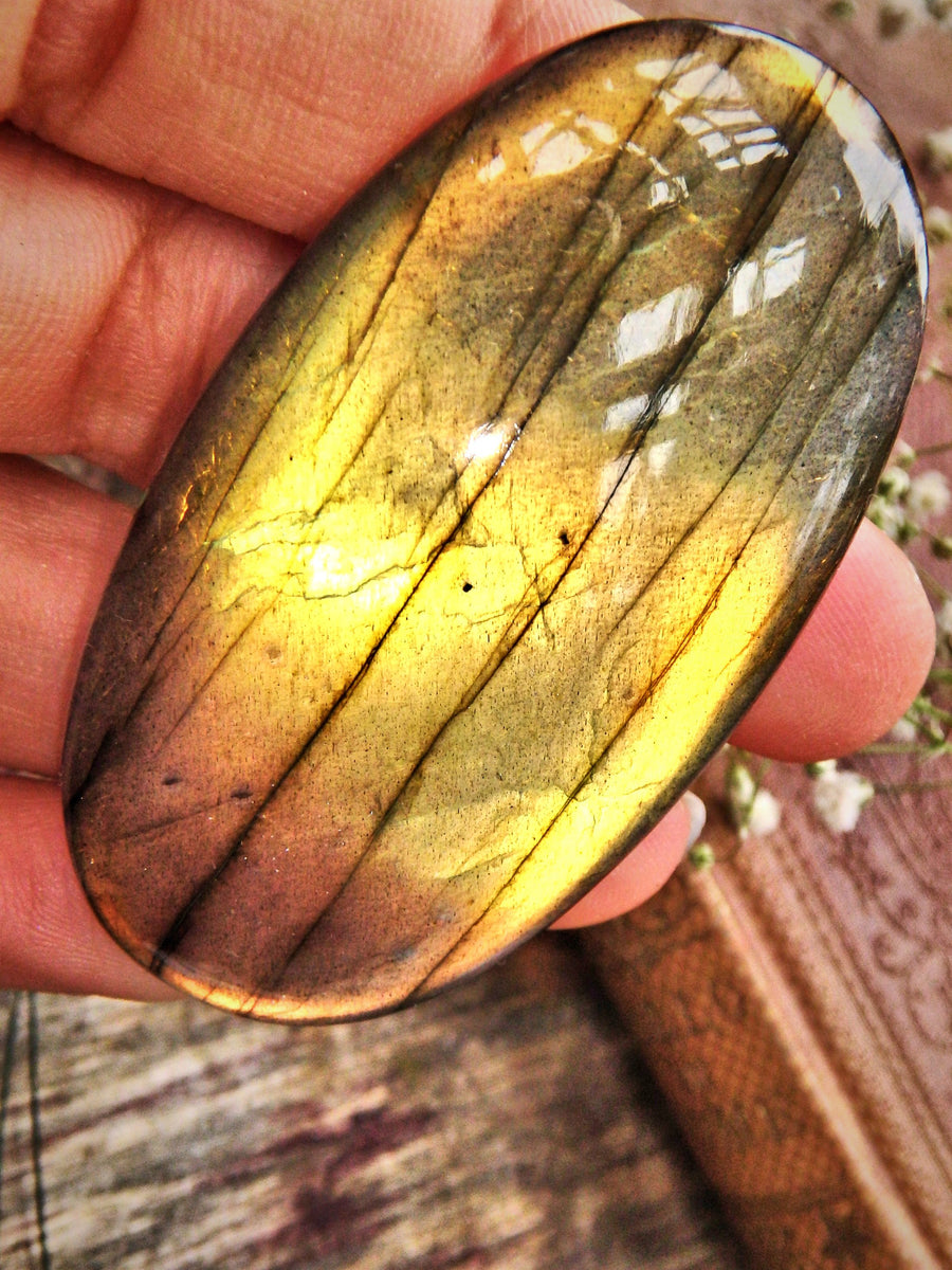 Large Orange & Golden Flash Labradorite Cabochon