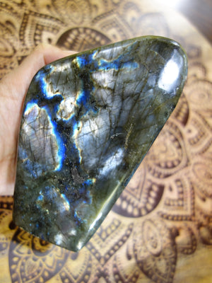 Rare Silvery Purple & Cobalt Blue Patterns Large Labradorite Self Standing Specimen - Earth Family Crystals