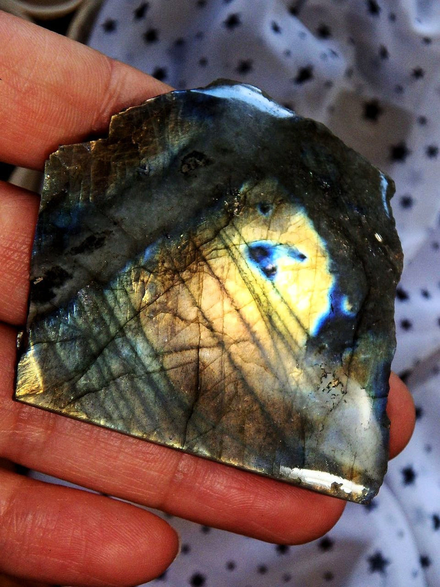 Bright Peach & Golden Flashes Labradorite Partially Polished Standing Specimen - Earth Family Crystals