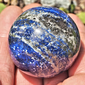 Shimmering Golden Pyrite High Quality Lapis Lazuli Sphere