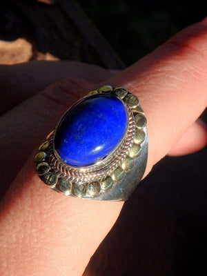 Elegant Cobalt Blue Lapis Lazuli Golden & Silver Patterns Ring in Sterling Silver (Size 7.5) - Earth Family Crystals