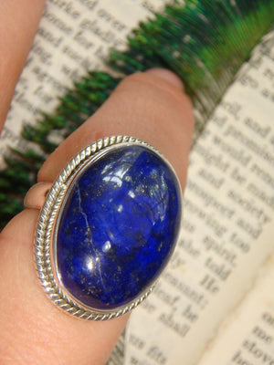 Lovely Deep Azure Blue Lapis Lazuli Ring In Sterling Silver (Size 7) - Earth Family Crystals