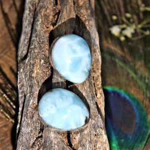 Soothing Blue Larimar Sterling Silver Stud Earrings1