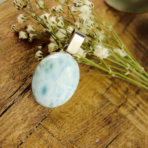 Lovely Frosted Blue Patterns Larimar Pendant in Sterling Silver (Includes Silver Chain) #1