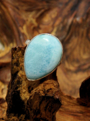 Stunning Blue Larimar Ring In Sterling Silver (Adjustable Size 5-9) - Earth Family Crystals