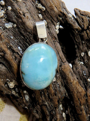 Calming Blue Larimar Gemstone Pendant in Sterling Silver (Includes Silver Chain) - Earth Family Crystals