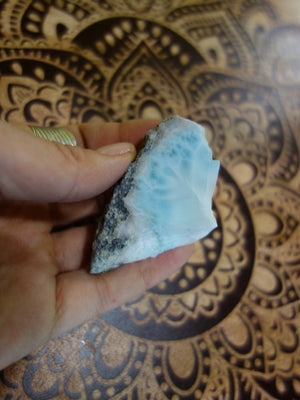Partially Polished Blue Larimar Hand Held  Specimen - Earth Family Crystals