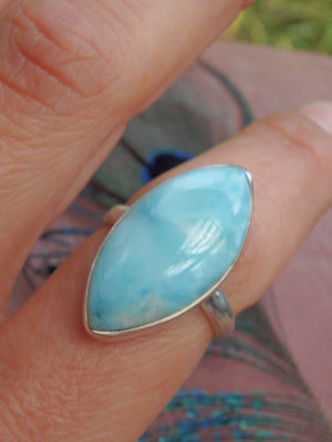 Larimar Dazzling Pools Ring in Sterling Silver (SIZE 7.5) - Earth Family Crystals