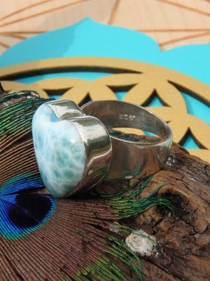 Amazing Heart Larimar Ring In Sterling Silver (Size 6.5) - Earth Family Crystals