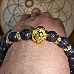 Perfect For Essential Oils~Lava Stone Bracelet With Gold Lion & Bling Charms on Elastic Cord