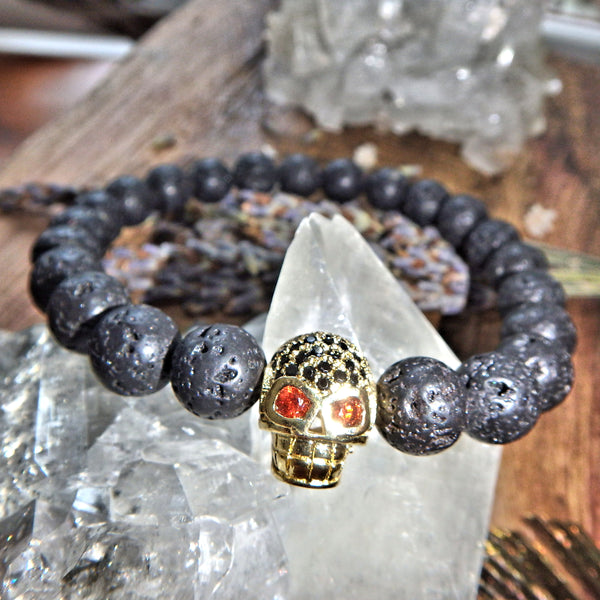 Perfect For Essential Oils~Lava Stone Bracelet With Gold Skull Charm on Elastic Cord