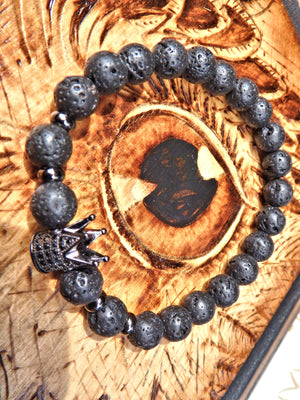 Lava Stone Bracelet With Black Crown Charm (Perfect for Essential Oils & Perfume)