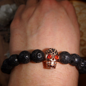 Perfect For Essential Oils~Lava Stone Bracelet With Rose Gold Skull Charm on Elastic Cord