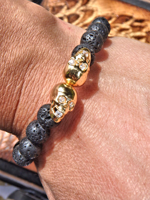 Lava Stone Bracelet With Double Golden Skull Charms (Perfect for Essential Oils & Perfume)