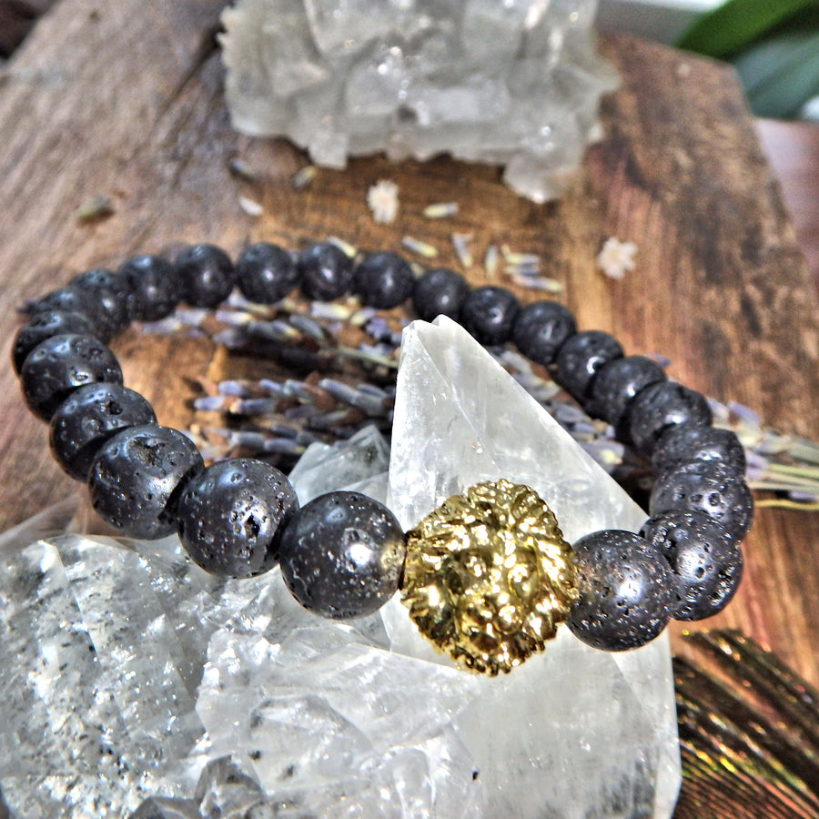 Perfect For Essential Oils~Lava Stone Bracelet With Gold Lion Charm on Elastic Cord