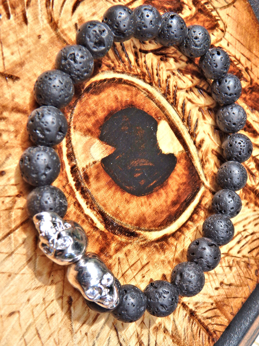 Lava Stone Bracelet With Double Silver Skull Charms (Perfect for Essential Oils & Perfume)