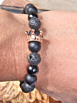 Lava Stone Bracelet With Golden Crown Charm (Perfect for Essential Oils & Perfume)