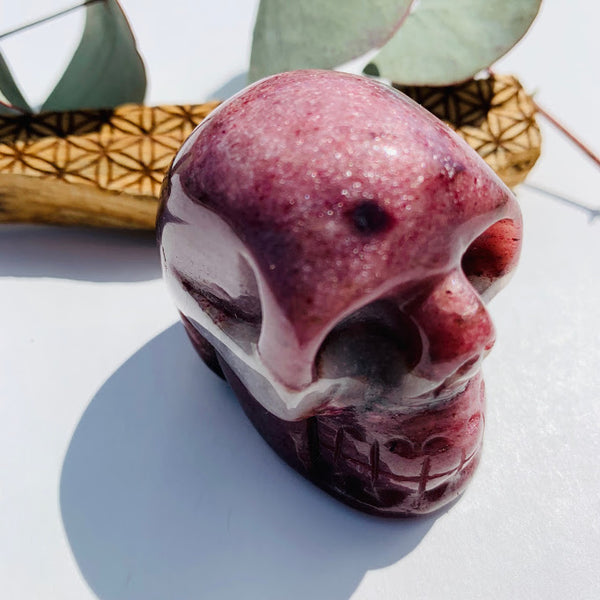 Rare Burgundy Thulite Skull Carving From Greenland