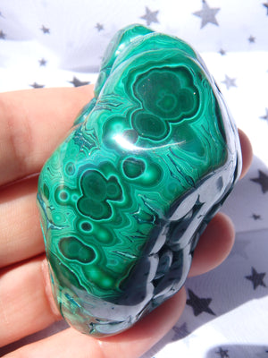 Stunning Green Patterns Caterpillar Shape Malachite Partially Polished Specimen