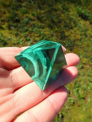 Adorable Rich Green Malachite Pyramid Carving - Earth Family Crystals