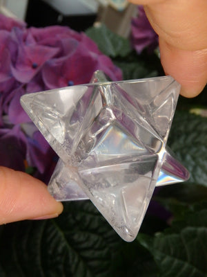 Lovely Hand Held Merkaba Clear Quartz Carving - Earth Family Crystals