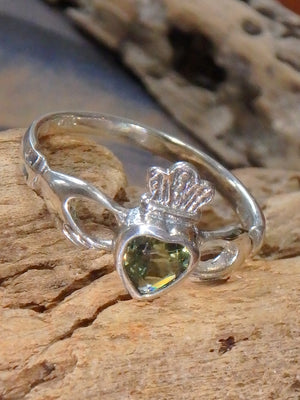 Faceted Moldavite Traditional Irish Claddagh Ring in Sterling Silver (Size 7 ,8, 9,10) - Earth Family Crystals