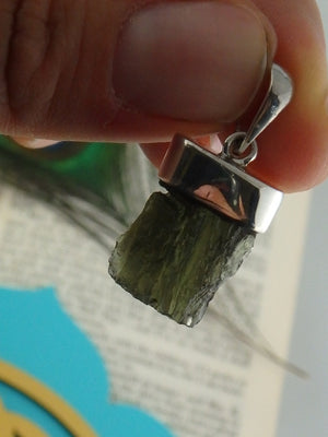 Raw & Cute Green Genuine Moldavite Gemstone Pendant In Sterling Silver(Includes Silver Chain) - Earth Family Crystals