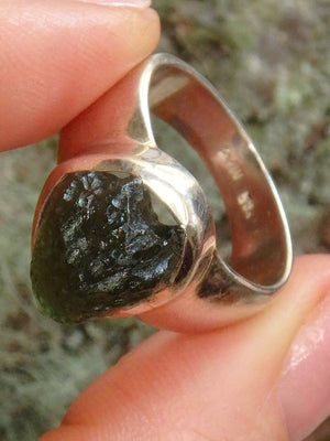 Stunning Raw & Natural Genuine Moldavite Ring in Sterling Silver (Size 8.5) - Earth Family Crystals