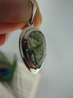 Exquisite Faceted Genuine Moldavite Gemstone Pendant In Sterling Silver (Includes Silver Chain) - Earth Family Crystals