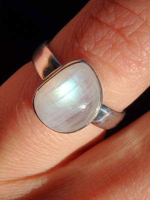 Flashy Rainbow Moonstone Ring in Sterling Silver (Size 6) - Earth Family Crystals