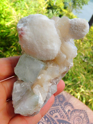 Large Puff Balls of Rare Creamy White Mordenite on Green Apophyllite & Stilbite Matrix From India - Earth Family Crystals