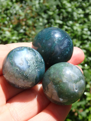 Moss Agate Small Meditative Sphere Carving~Perfect for Your  Pocket!