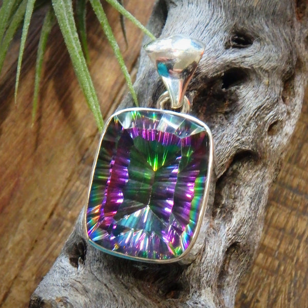 Amazing Color Depth Mystic Topaz Gemstone Pendant in Sterling Silver (Includes Silver Chain)